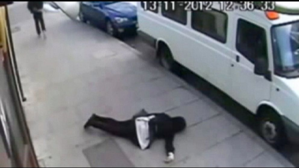 Surveillance video screengrab of a knockout game victim
