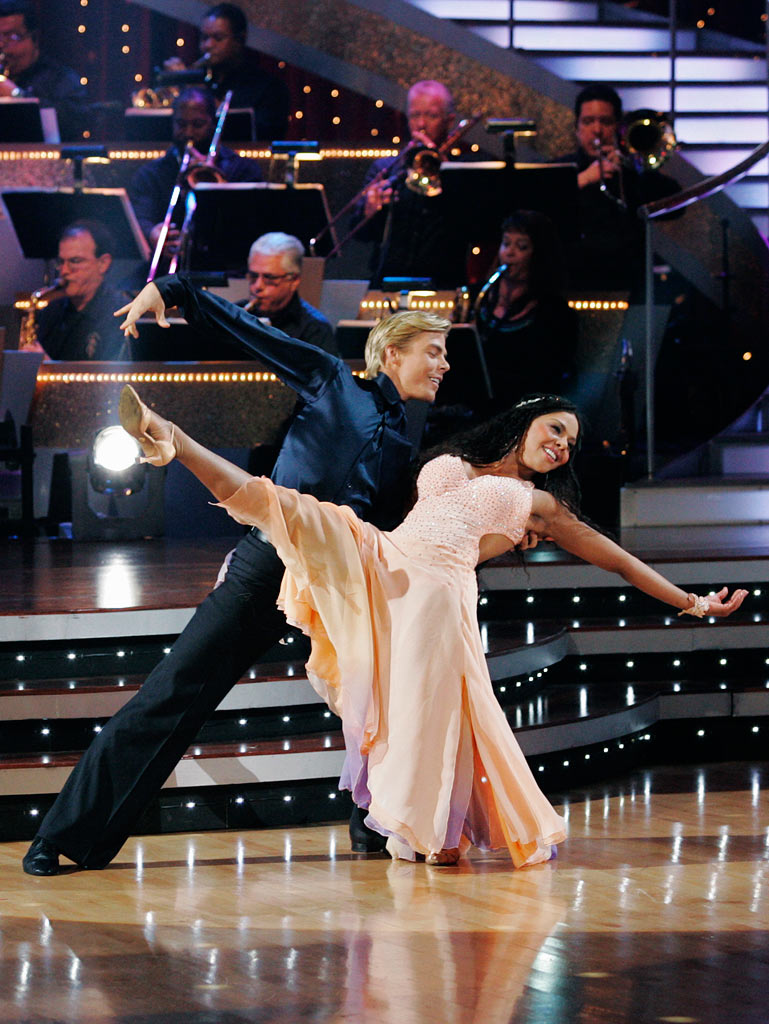 "Lil' Kim and Derek Hough perform the Viennese Waltz to ""I'll Be"" by Edwin McCain on ""Dancing with the Stars."""