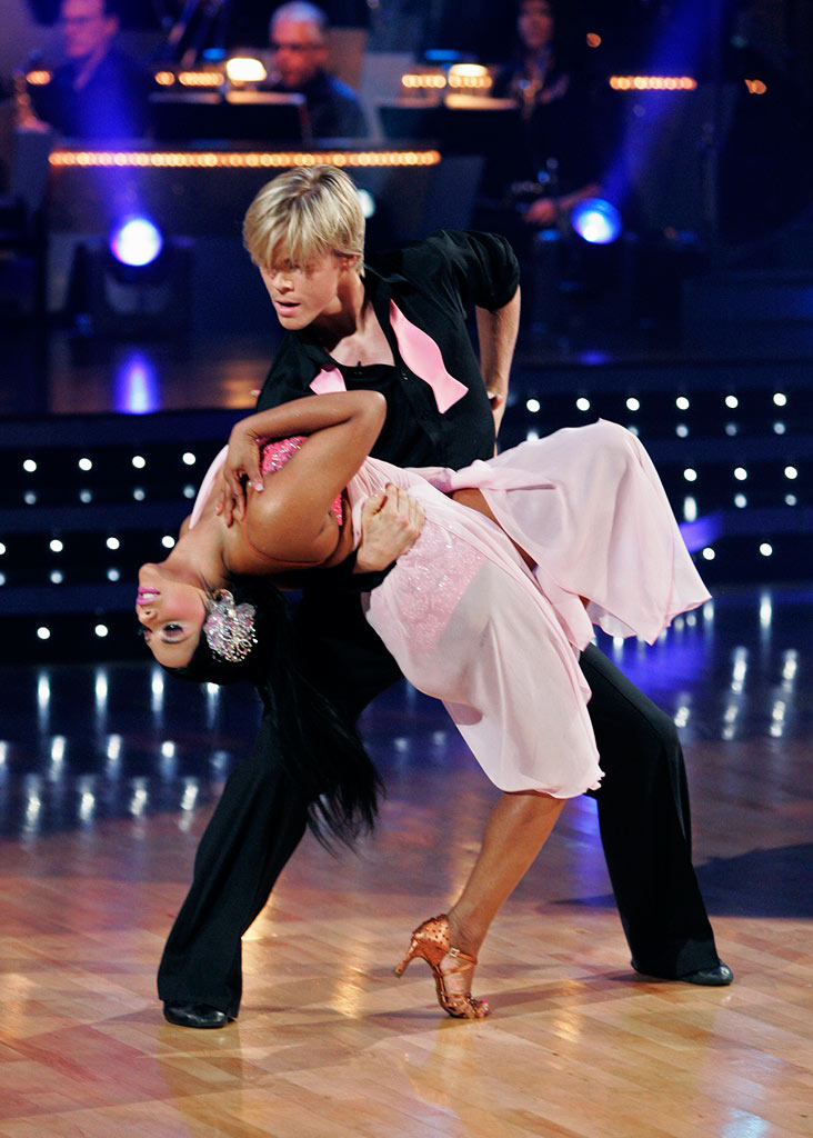 "Lil' Kim and Derek Hough perform the Rumba to ""Lost Without U"" by Robin Thicke on ""Dancing with the Stars."""