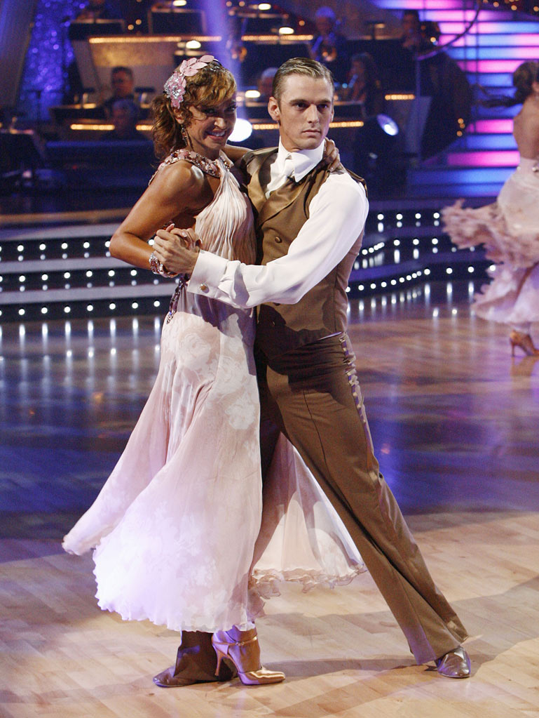 "Aaron Carter and Karina Smirnoff perform the Cha-Cha-Cha to ""Beggin'"" by Madcon on ""Dancing with the Stars."""