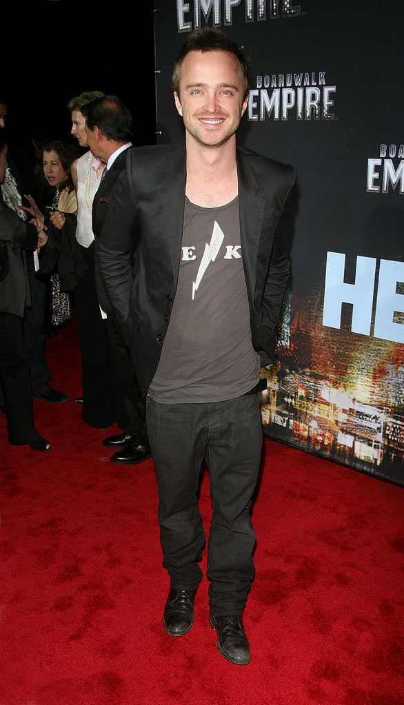 "Aaron Paul attends the premiere of ""Boardwalk Empire"" at the Ziegfeld Theatre on September 15, 2010, in New York City."