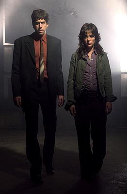 "Adam Goldberg as Detective Michael Maddison and Parker Posey as Detective Carson O'Conner USA Network's ""Frankenstein"""