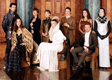 Left to Right: Edward Atterton as Duncan, Daniela Amavia as Alia, Susan Sarandon as Wensicia, Julie Cox as Irulan, Jessica Brooks as Ghanima, James McAvoy as Leto, Barbara Kodetova as Chani, Alec Newman as Paul and Alice Krige as Lady Jessica Sci-Fi Network's Children of Dune
