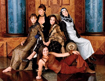 Left to Right: Julie Cox as Irulan, Susan Sarandon as Wensicia, Barbara Kodetova (front) as Chani, Daniela Amavia as Alia and Alice Krige as Lady Jessica Sci-Fi Network's Children of Dune