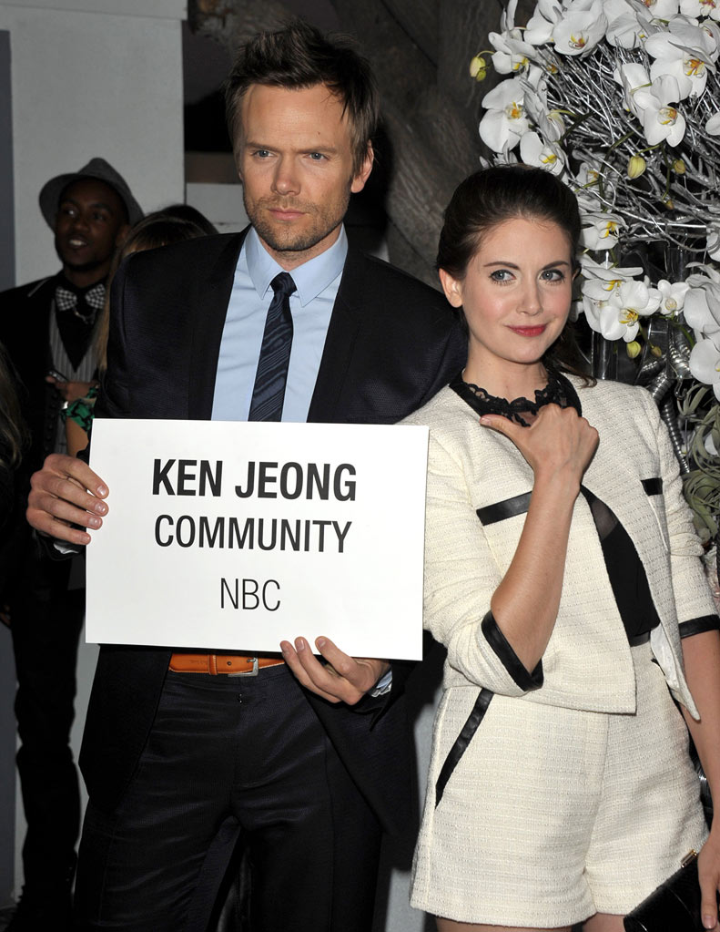 "Joel McHale and Alison Brie of ""Community"" attend the NBC Universal Summer TCA 2011 All-Star Party at the SLS Hotel on August 1, 2011 in Los Angeles, California."