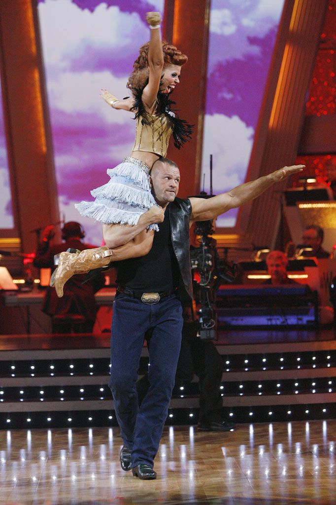 "Anna Trebunskaya and Chuck Liddell perform on ""Dancing with the Stars."""