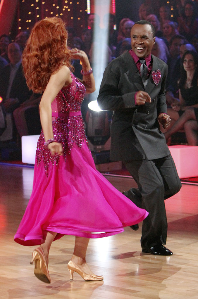"Sugar Ray Leonard and Anna Trebunskaya perform the Foxtrot on ""Dancing with the Stars."""