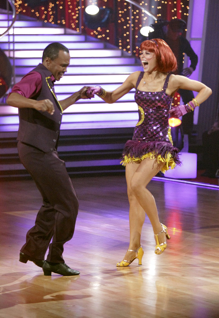 "Sugar Ray Leonard and Anna Trebunskaya perform on ""Dancing with the Stars."""