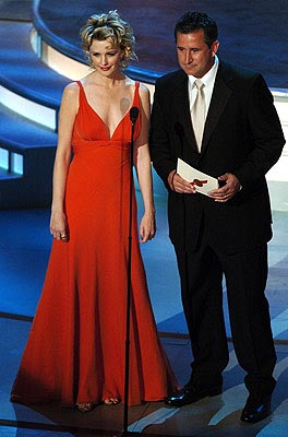 Kathryn Morris and Anthony LaPaglia Presenters for Outstanding Writing for a Miniseries, Movie or Dramatic Special Emmy Awards - 9/19/2004