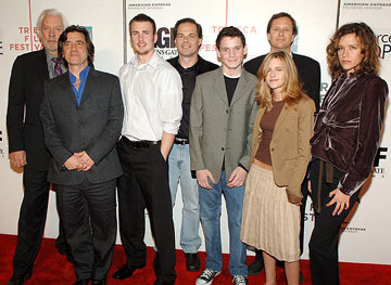 Donald Sutherland, director Griffin Dunne, Tom Ortenberg, Anton Yelchin, Kristen Stewart, Michael Burns and Paz de la Huerta Fierce People premiere - Tribeca Film Festival April 23, 2005 - New York, NY