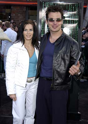 Premiere: Antonio Sabato Jr. and his wife do not notice the weird gray alien tentacle about to snatch her away from him at the Hollywood premiere of Warner Brothers' The Matrix: Reloaded - 5/7/2003