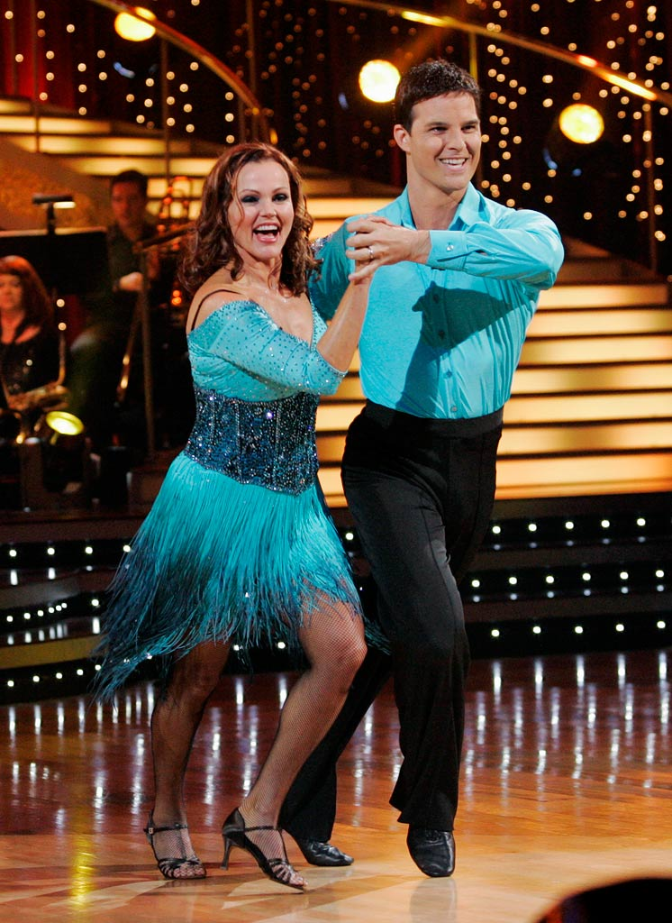 "Belinda Carlisle and Jonathan Roberts perform the Salsa to ""Higher"" by Gloria Estefan on ""Dancing with the Stars."""
