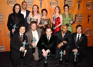 "Top: Ben Foster, Peter Macdissi, Frances Controy, Justina Machado, Lauren Ambrose, Rachel Griffiths Bottom: Freddy Rodriguez, Rainn Wilson, Michael C. Hall, Mathew St. Patrick, Peter Krause of ""Six Feet Under"" Outstanding Performance by an Ensemble in a Drama Series Screen Actors Guild Awards 2/22/2004"
