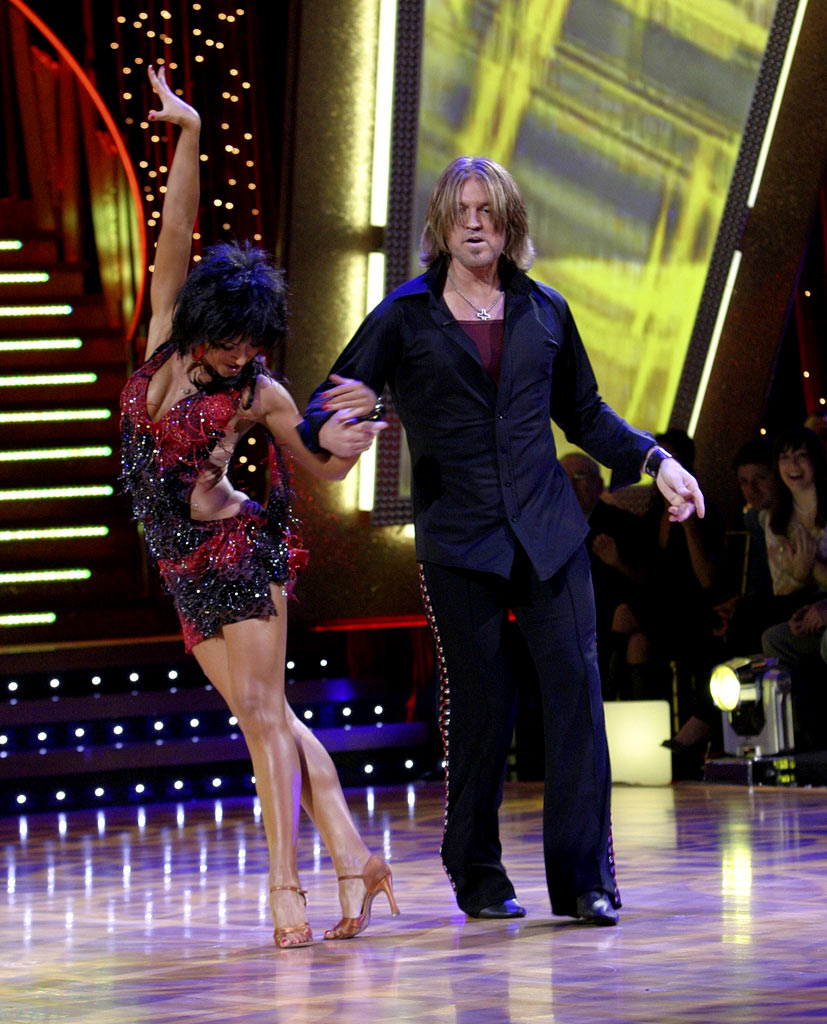 Professional dancer, Karina Smirnoff and Billy Ray Cyrus  perform their first dance in the 4th season of Dancing with the Stars.