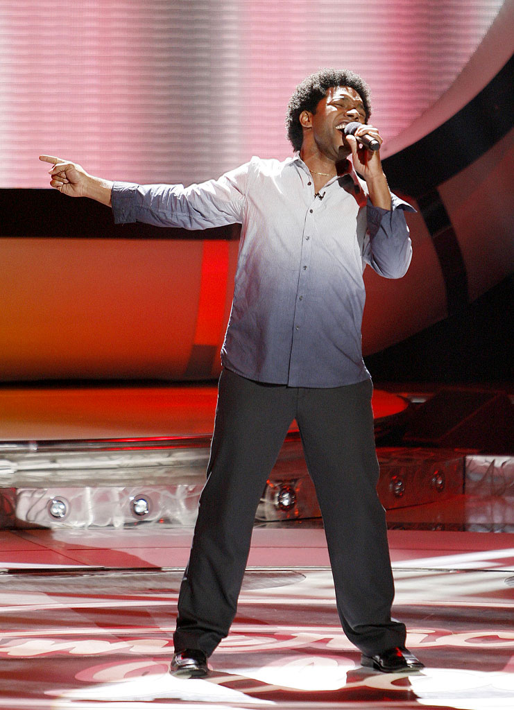 Brandon Rogers performs as one of the top 12 contestants on the 6th season of American Idol.
