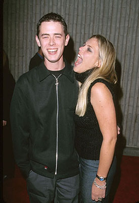 "Premiere: ""Roswell"" star Colin Hanks and ""Freaks and Geeks"" star Busy Philipps at the premiere for Dimension's Scream 3 - 2/3/2000"