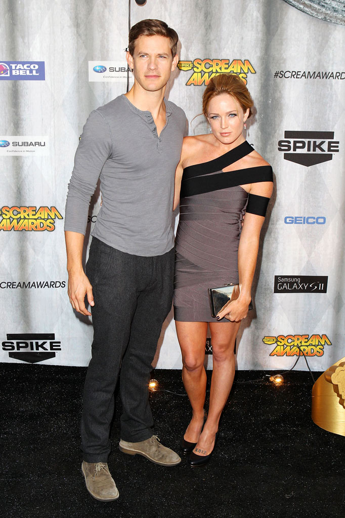 "Bryce Johnson and Caity Lotz arrive at Spike TV's ""Scream 2011"" at Universal Studios on October 15, 2011 in Universal City, California."