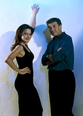 "Carla Gugino and Robert Forster ABC's ""Karen Sisco"""