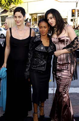 Premiere: Carrie Anne Moss, Jada Pinkett Smith and Monica Bellucci are probably all wearing uncomfortable shoes at the Hollywood premiere of Warner Brothers' The Matrix: Reloaded - 5/7/2003