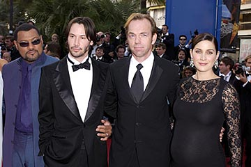 Laurence Fishburne, Keanu Reeves, Hugo Weaving and Carrie Anne Moss The Matrix: Reloaded Premiere Cannes Film Festival 5/15/2003
