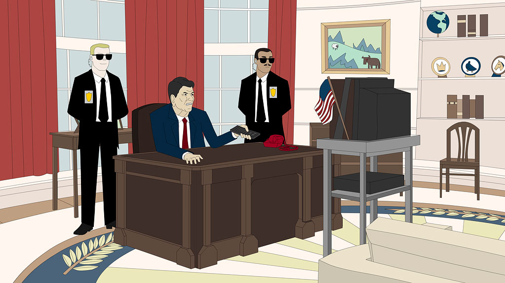 "President Ronald Reagan in the animated series ""China, IL."""