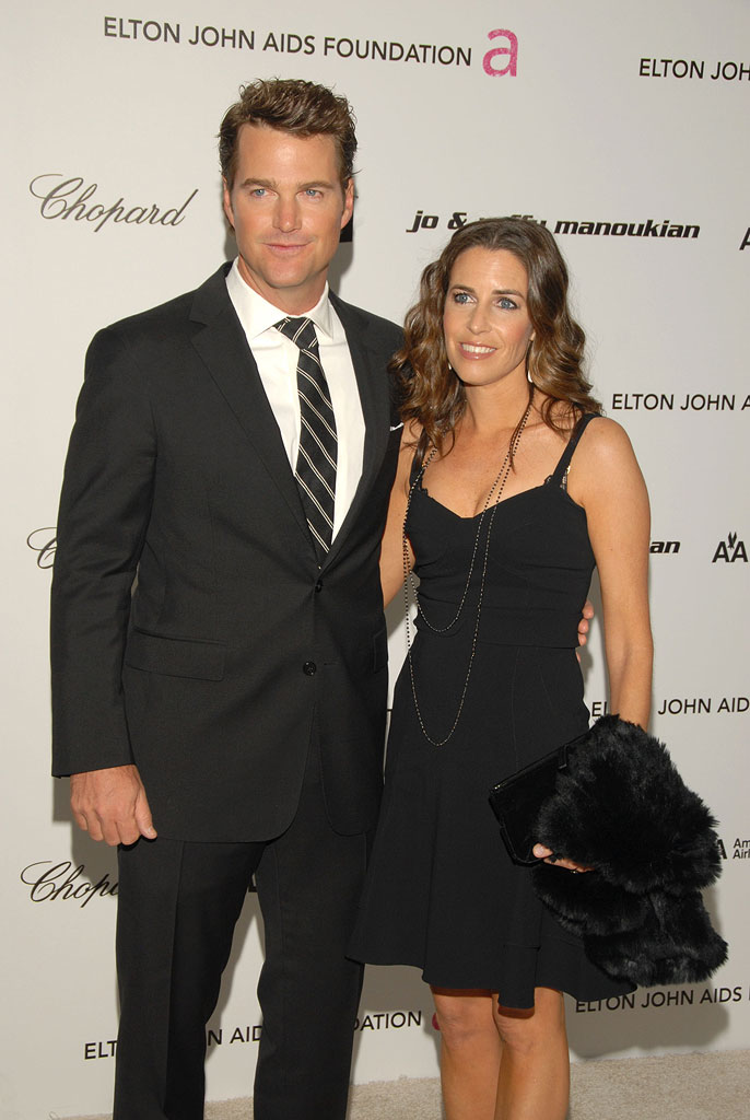 Chris O'Donnell and wife Caroline Fentress arrive at the 17th Annual Elton John AIDS Foundation's Academy Award Viewing Party held at the Pacific Design Center on February 22, 2009 in Hollywood, California.