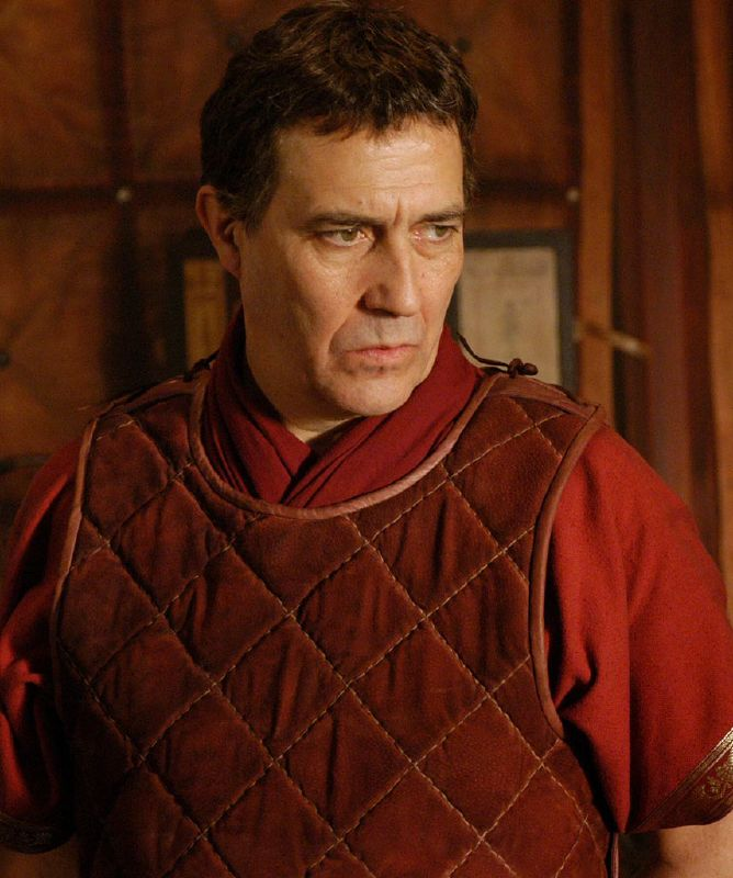 Ciaran Hinds plays Julius Caesar in Rome on HBO.