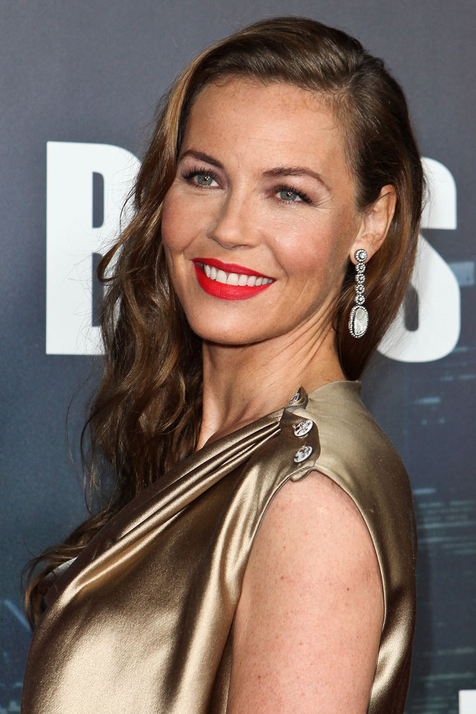 "Connie Nielsen arrives at the premiere of Starz's ""Boss"" at ArcLight Cinemas on October 6, 2011 in Hollywood, California."