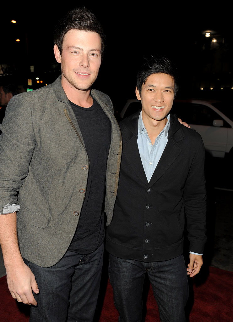 "Cory Monteith and Harry Shum Jr. arrive at the premiere of FX's ""American Horror Story"" at the ArcLight Cinemas Cinerama Dome on October 3, 2011 in Hollywood, California."