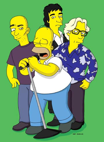 Homer (voiced by Dan Castellaneta) stands with R.E.M. in the episode 'Homer the Moe.' Fox's The Simpsons