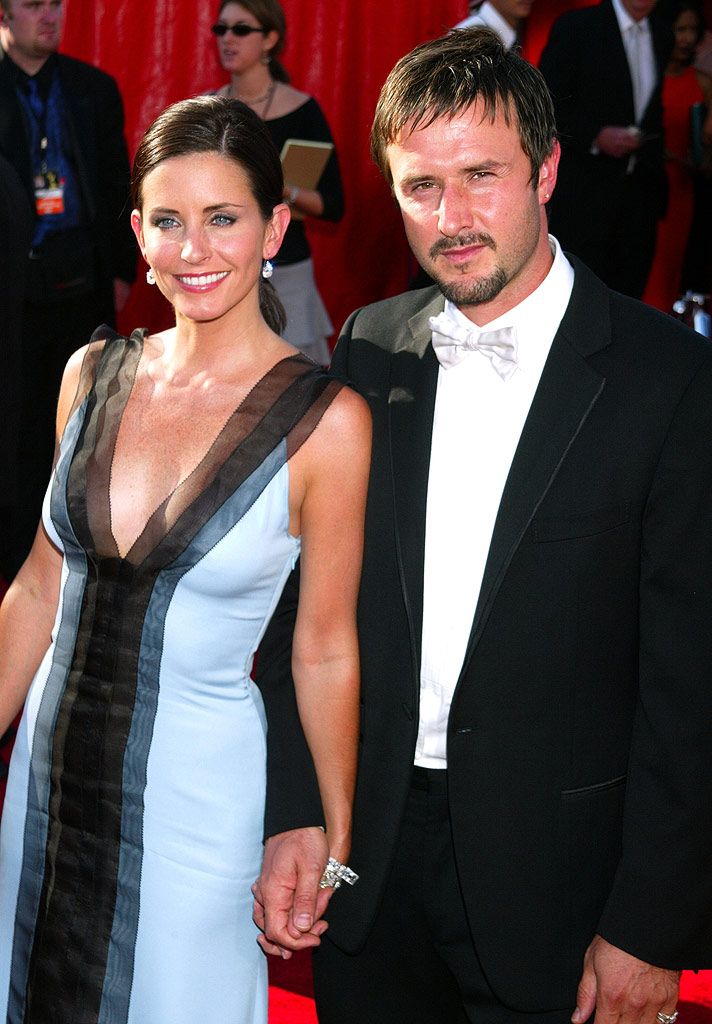 Courteney Cox and David Arquette at The 55th Annual Primetime Emmy Awards.