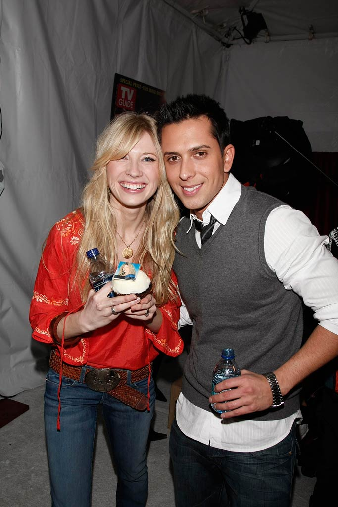 Finalists Brooke White and David Hernandez celebrate at the American Idol Top 12 Party
