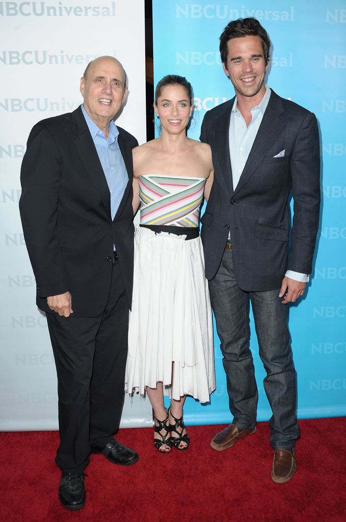 "Jeffrey Tambor, Amanda Peet, and David Walton (""Bent"") attend the 2012 NBC Universal Winter TCA All-Star Party at The Athenaeum on January 6, 2012 in Pasadena, California."