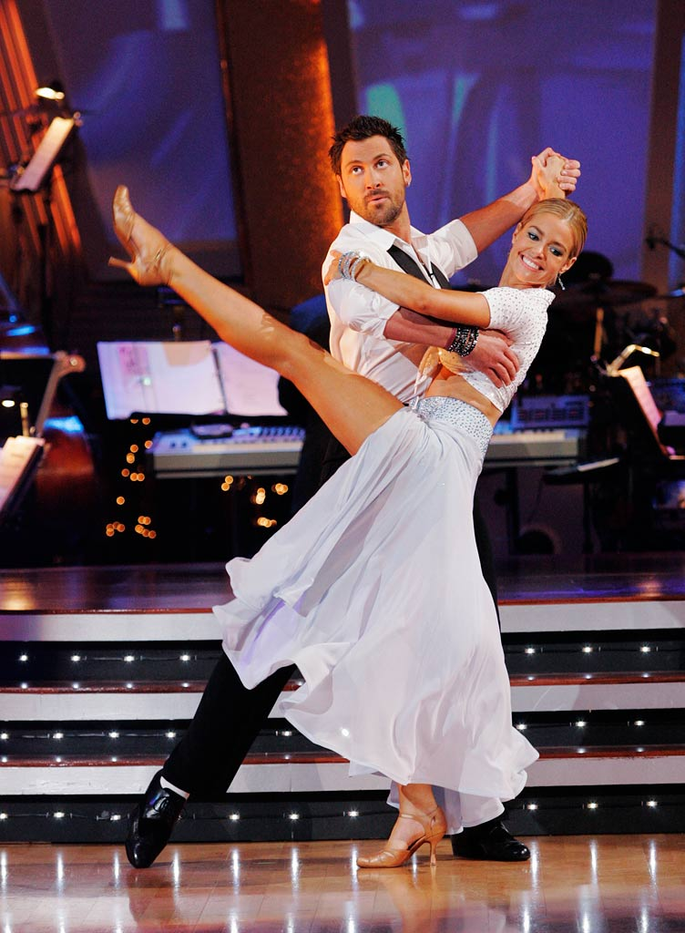"Denise Richards and Maksim Chmerkovskiy perform the Quickstep to ""We Go Together"" from the Grease soundtrack on ""Dancing with the Stars."""