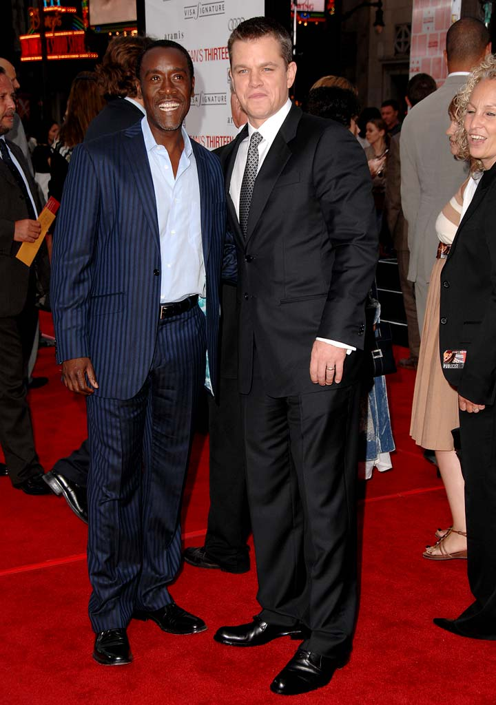 "Don Cheadle and [ytvshow id=308883]Matt Damon[/ytvshow] at the ""Ocean's Thirteen"" Los Angeles Premiere."