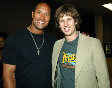 "Dwayne ""The Rock"" Johnson and Jon Heder  MTV Movie Awards 2005 - Backstage Los Angeles, CA - 6/4/05"