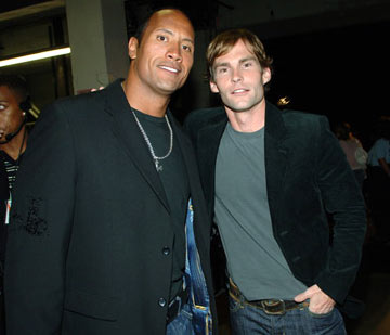 "Dwayne ""The Rock"" Johnson and Seann William Scott  MTV Movie Awards 2005 - Backstage Los Angeles, CA - 6/4/05"