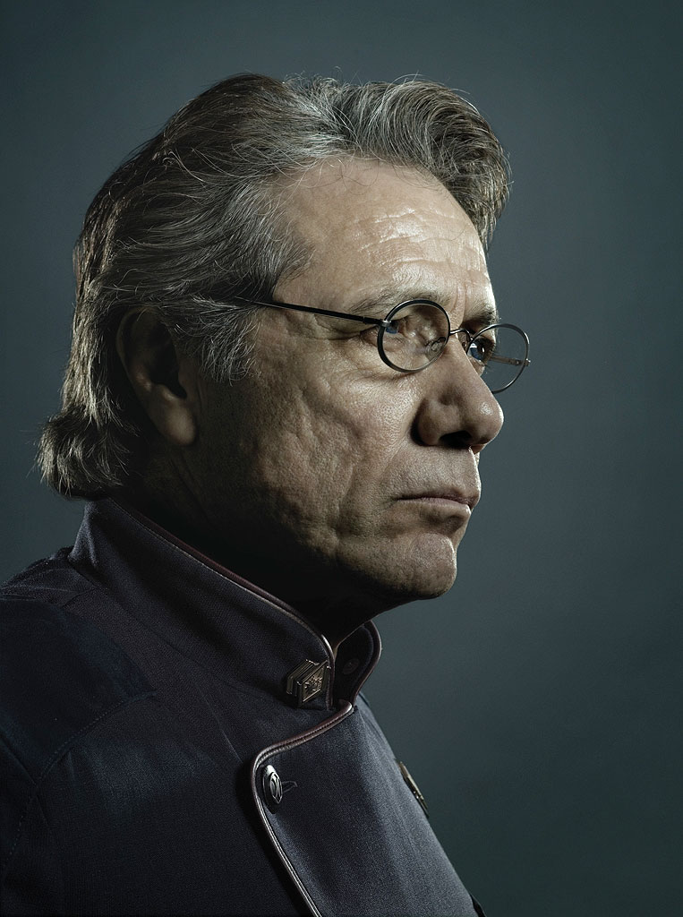 Edward James Olmos stars as Commmander William Adama in Battlestar Galactica on the SciFi Channel.