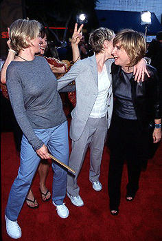 Premiere: Ellen DeGeneres and Anne Heche clown around with Melissa Etheridge at the LA premiere for Eyes Wide Shut Photo by Jeff Vespa/Wireimage.com