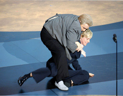 Martin Short as Jiminy Glick wrestling host Ellen DeGeneres 53rd Annual Emmy Awards - 11/4/2001