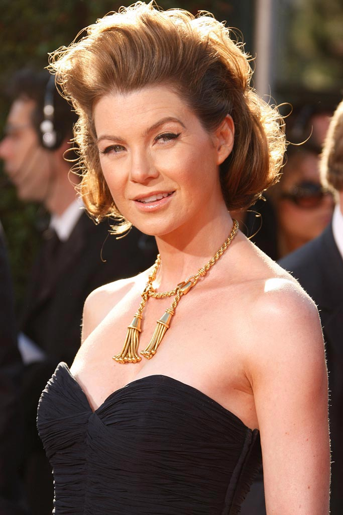 Ellen Pompeo arrives at the 59th Annual Primetime Emmy Awards.