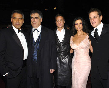 Premiere: George Clooney, Elliott Gould, Brad Pitt, Catherine Zeta-Jones and Matt Damon at the Hollywood premiere of Warner Bros. Ocean's Twelve - 12/8/2004