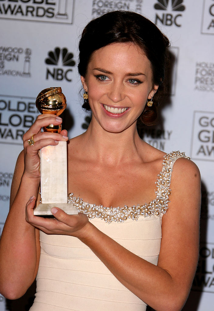 "Emily Blunt, winner Best Performance by an Actress in a Supporting Role in a Series, Mini-Series or Motion Picture Made for Television for ""Gideon's Daughter,"" at the 64th annual Golden Globe Awards."