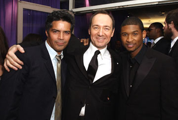 Esai Morales, Kevin Spacey and Usher InStyle/Warner Bros. Golden Globes Party The Palm Court at the Beverly Hilton - Beverly Hills, CA - 1/16/05