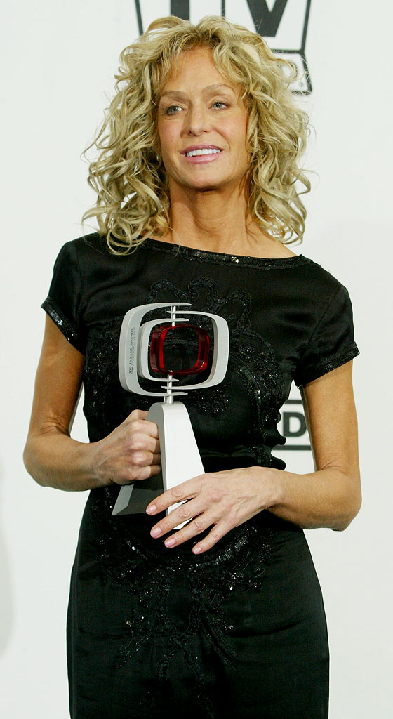 """Fan""tastic Phenomenon Winner, Actress Farrah Fawcett poses backstage at the 2nd Annual TV Land Awards held on March 7, 2004 at The Hollywood Palladium, in Hollywood, California."