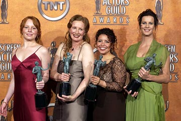 "Lauren Ambrose, Frances Controy, Justina Machado and Rachel Griffiths of ""Six Feet Under"" Outstanding Performance by an Ensemble in a Drama Series Screen Actors Guild Awards 2/22/2004 Frances Conroy"