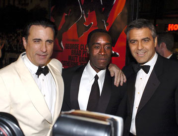 Premiere: Andy Garcia, Don Cheadle and George Clooney at the Hollywood premiere of Warner Bros. Ocean's Twelve - 12/8/2004