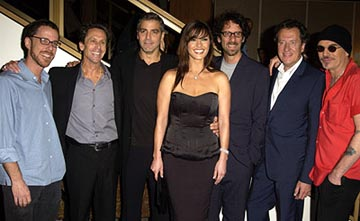 Premiere: Ethan Coen, Brian Grazer, George Clooney, Catherine Zeta Jones, Geoffrey Rush and Billy Bob Thornton at the LA premiere of Universal's Intolerable Cruelty - 10/1/2003