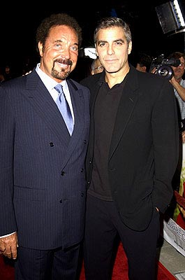Premiere: Tom Jones and George Clooney at the LA premiere of Universal's Intolerable Cruelty - 10/1/2003