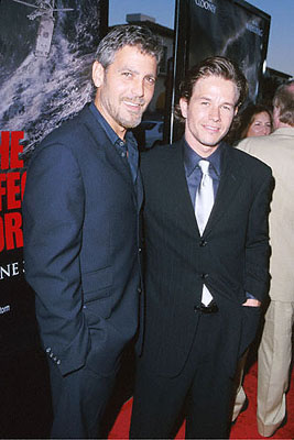 Premiere: Three Kings stars George Clooney and Mark Wahlberg at the Mann's Village Theater premiere of Warner Brothers' The Perfect Storm - 6/26/2000